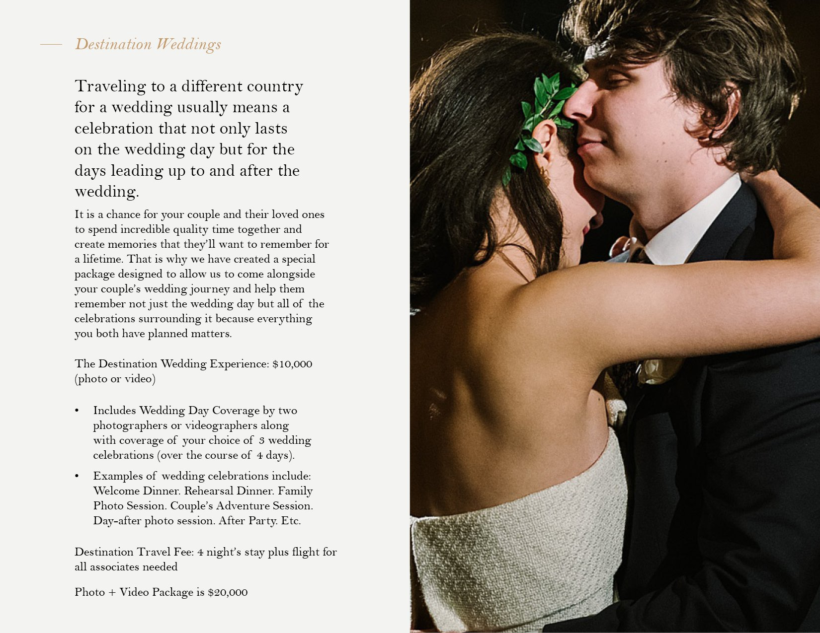Pricing document layout design for Chicago wedding photography brand