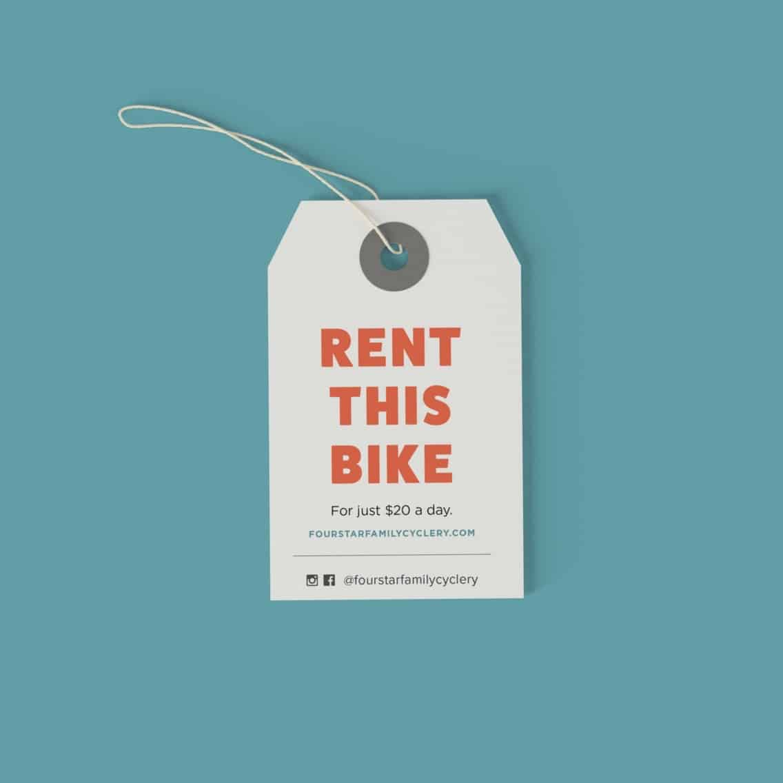 Designed bike tag for rentals