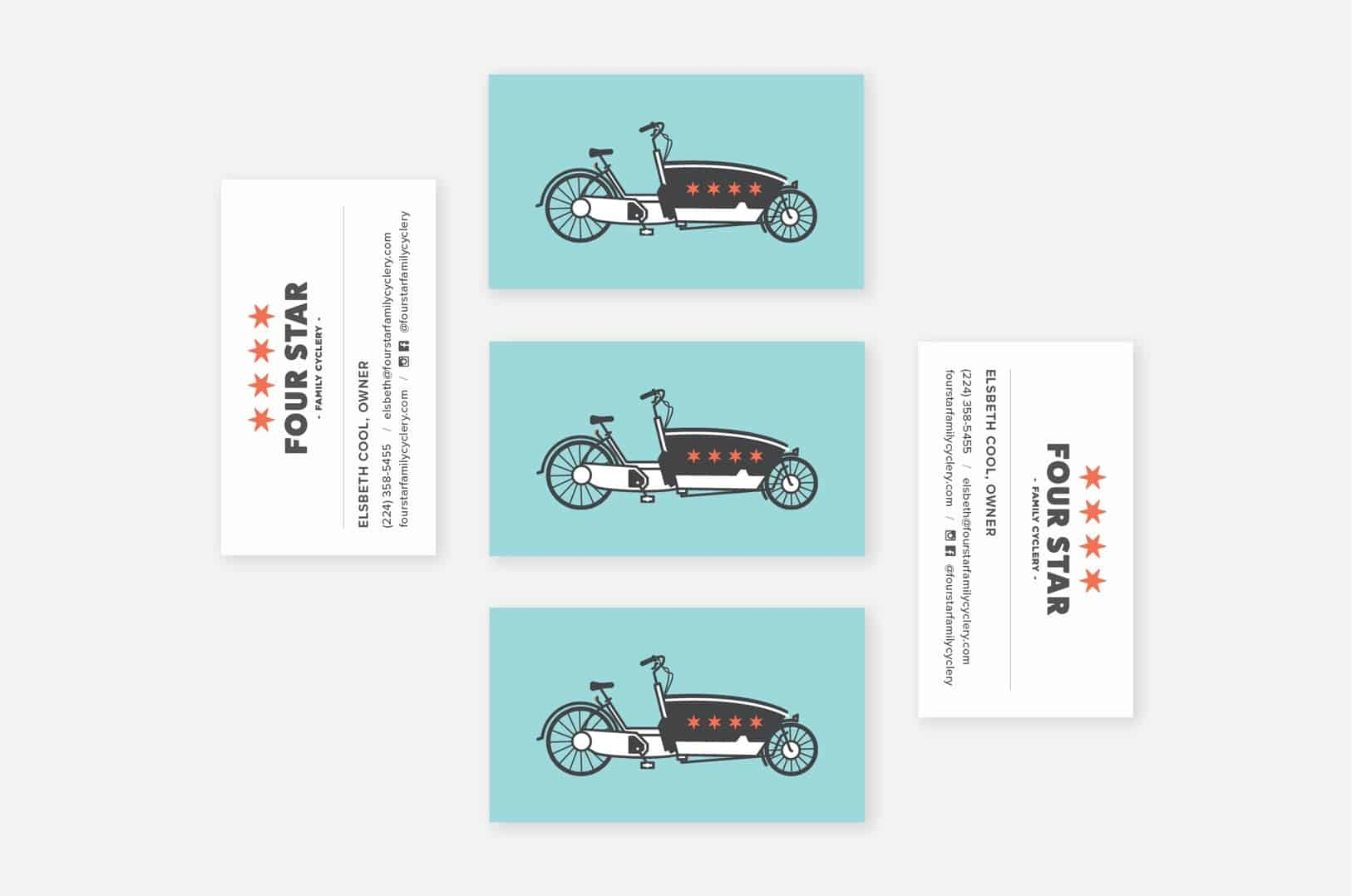 Business card design for Chicago bike shop
