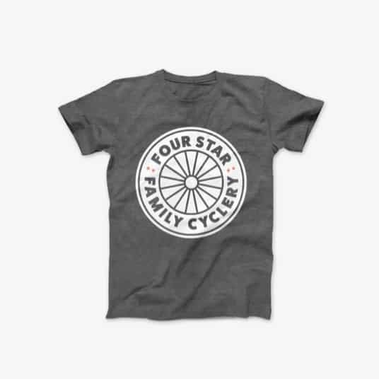 T-shirt design for Chicago based Four Star Family Cyclery, featuring the logo design