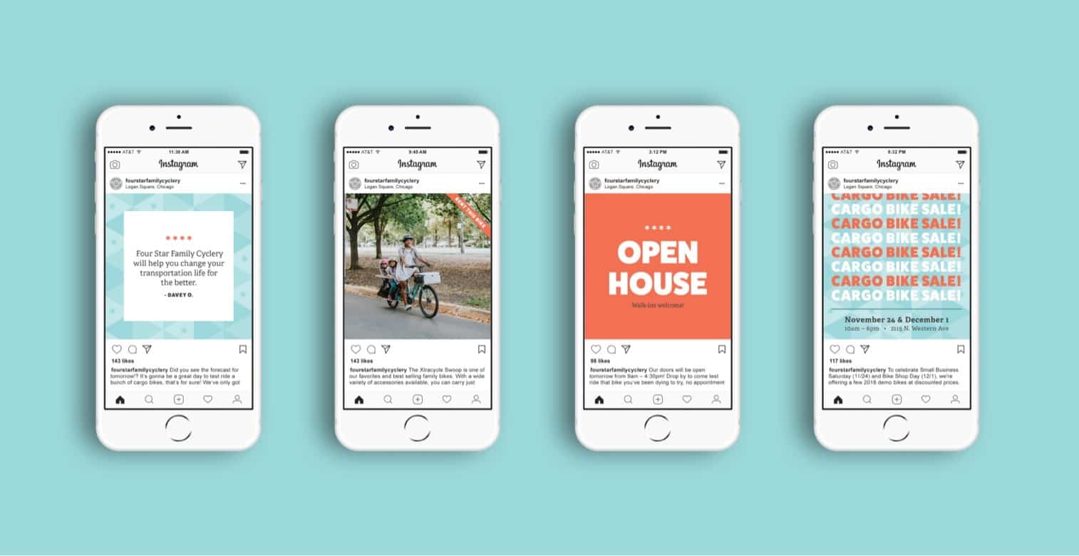 Social media designs for Chicago bike shop