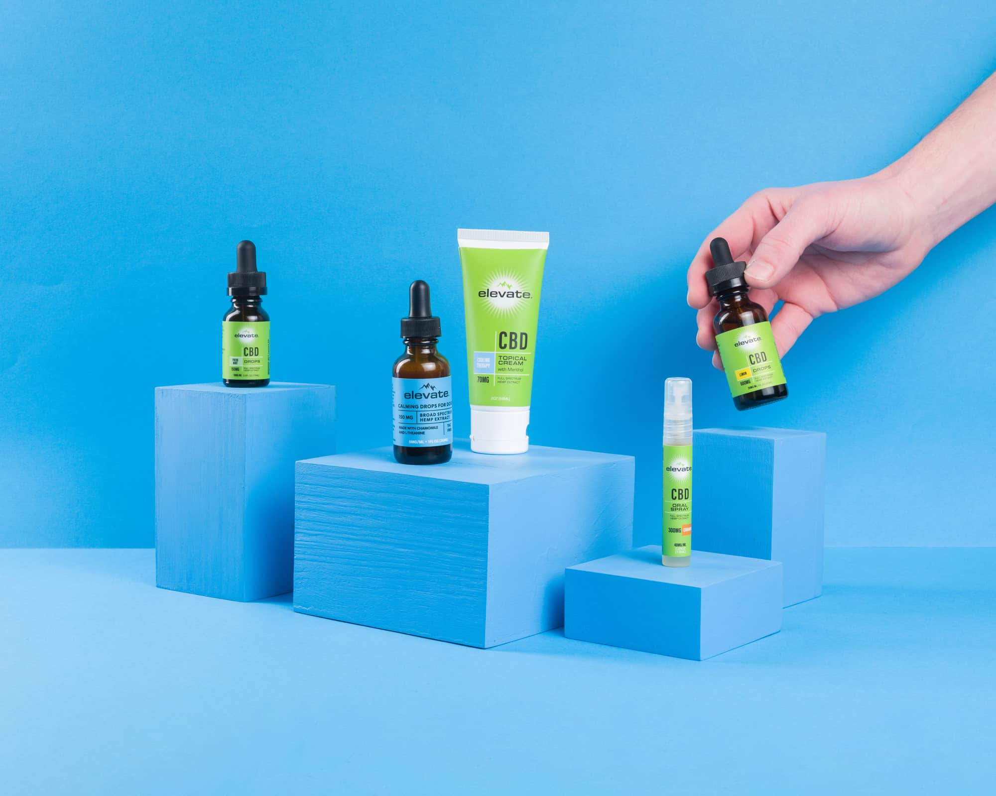 Product photograpy and prop styling for Elevate CBD's quiz
