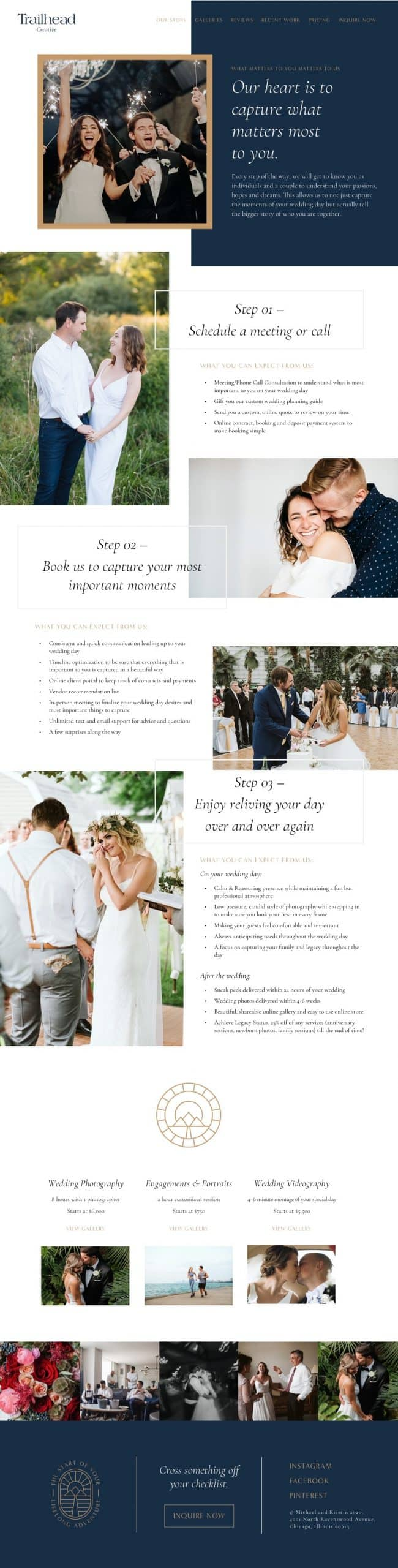 Experience and pricing page website design for wedding photography studio, Trailhead Creative