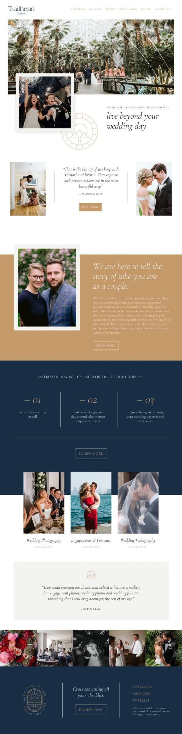 Homepage website design for wedding photography studio, Trailhead Creative