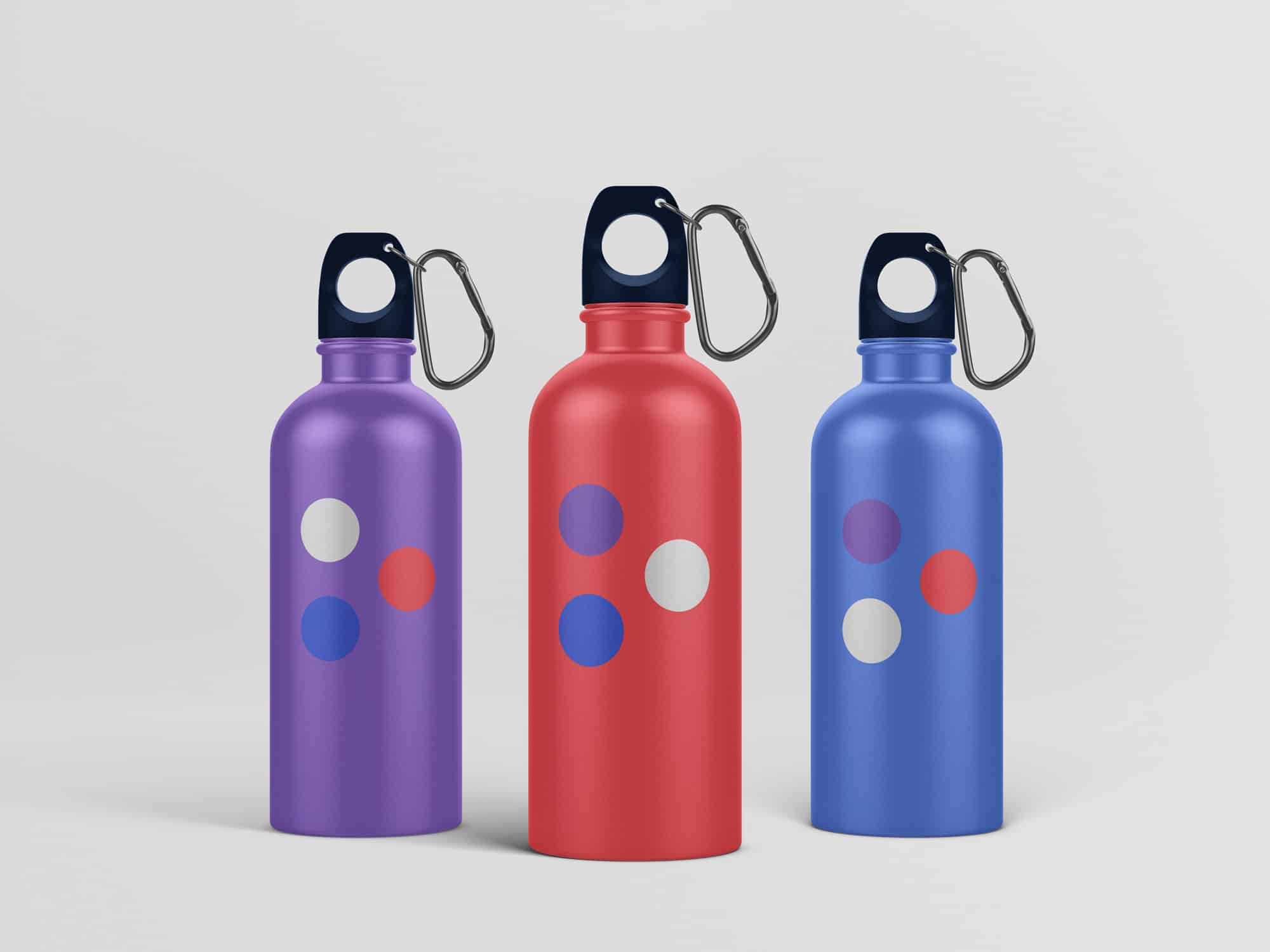Logomarks printed on water bottles for staff and recruits