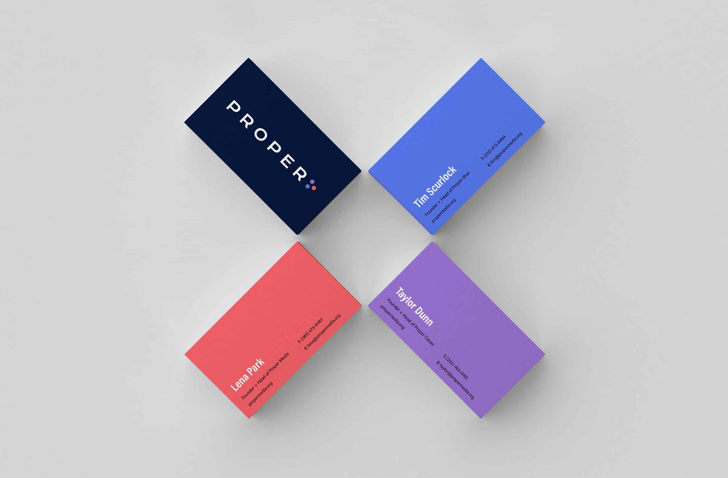Proper Media's versatile business card design system