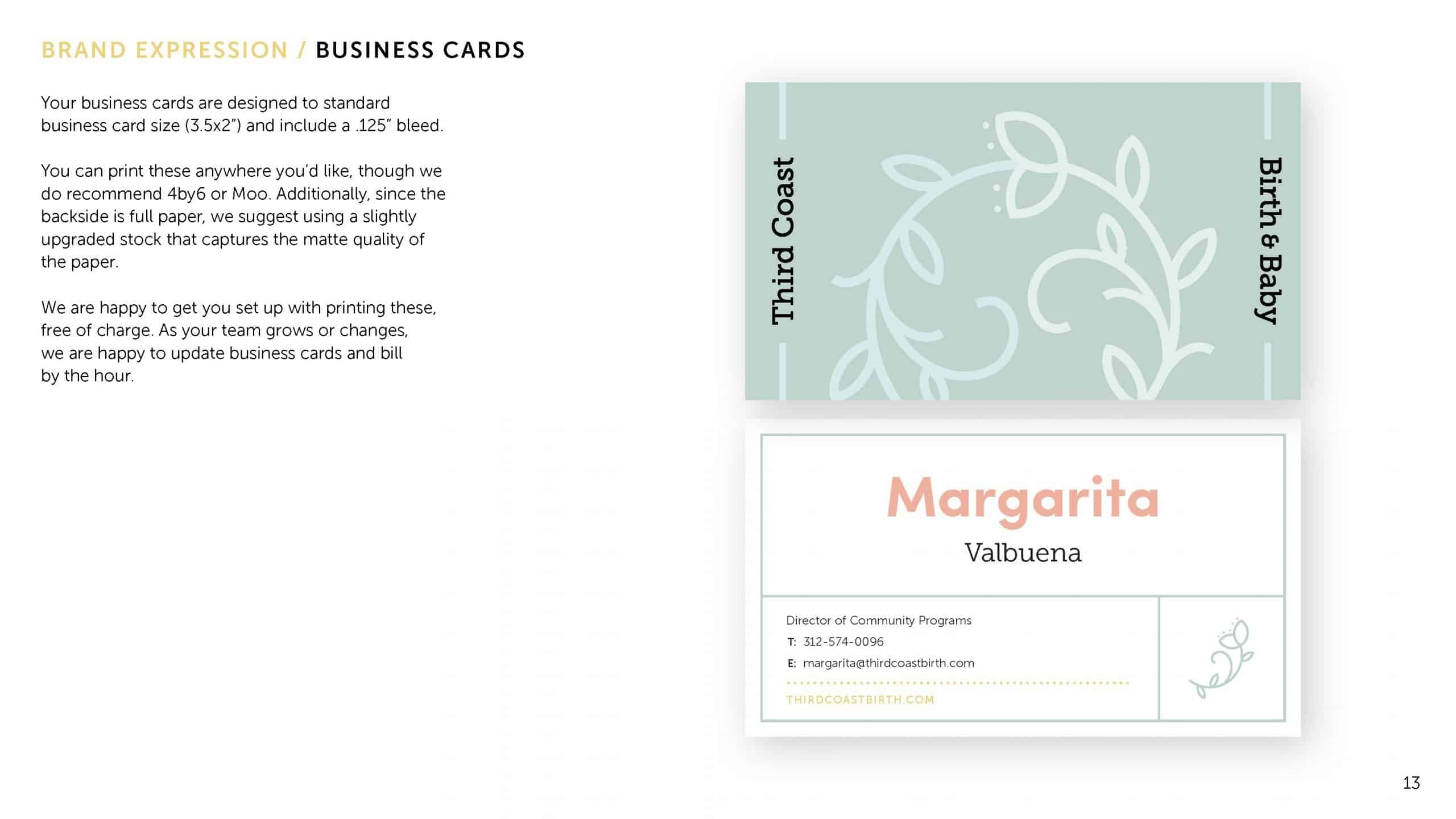 Brand guideline page explaining business card design and usage for Third Coast Birth & Baby