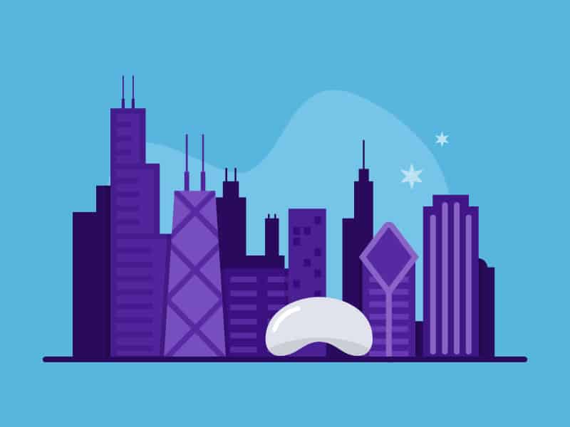 Branded illustration of the Chicago skyline for nonprofit, Chicago Semester