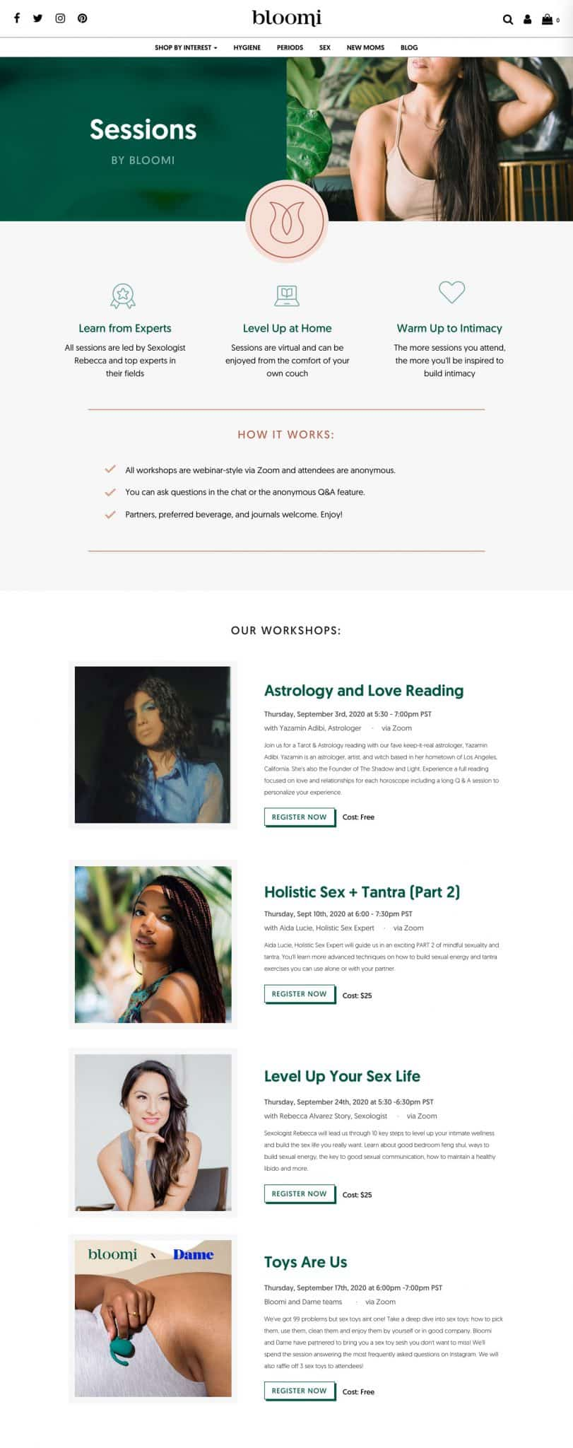 Website page design for upcoming events and webinars