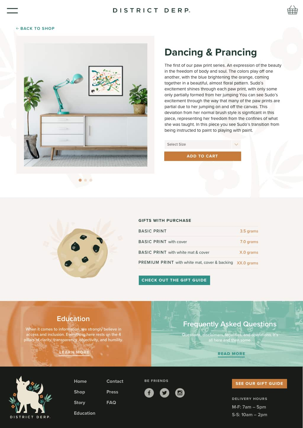 Product page design for eCommerce company, District Derp