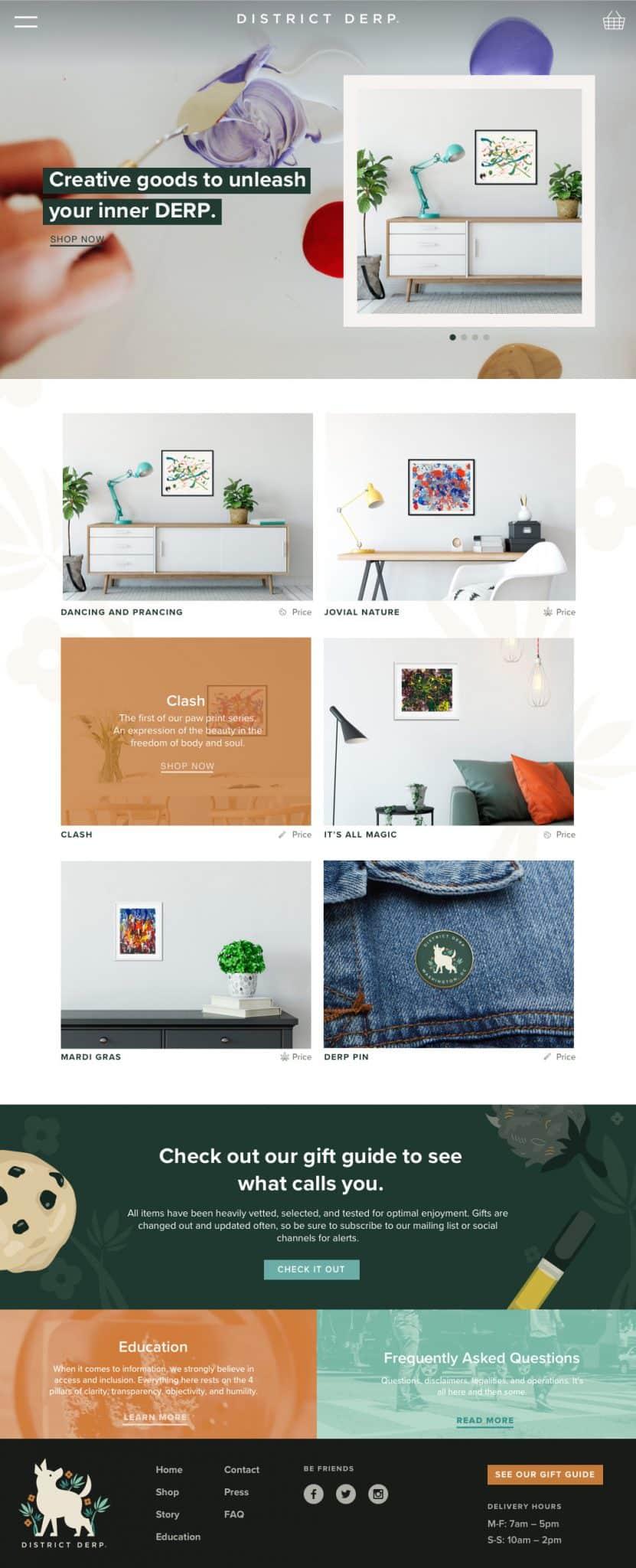 eCommerce website shop page for District Derp